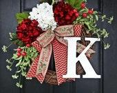 Red and White Hydrangea and Chevron Burlap Merry Christmas Wreath, Red and White Christmas Wreath, Burlap Holiday Wreath, Chevron Christmas