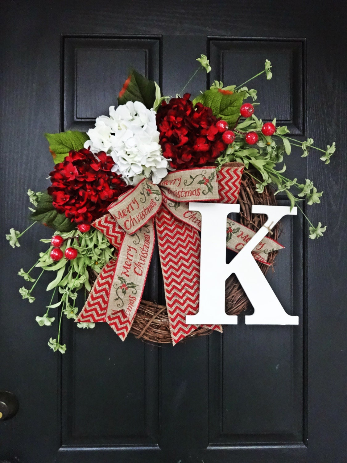 christmas wreath ideas and white hydrangea and chevron burlap by 29494