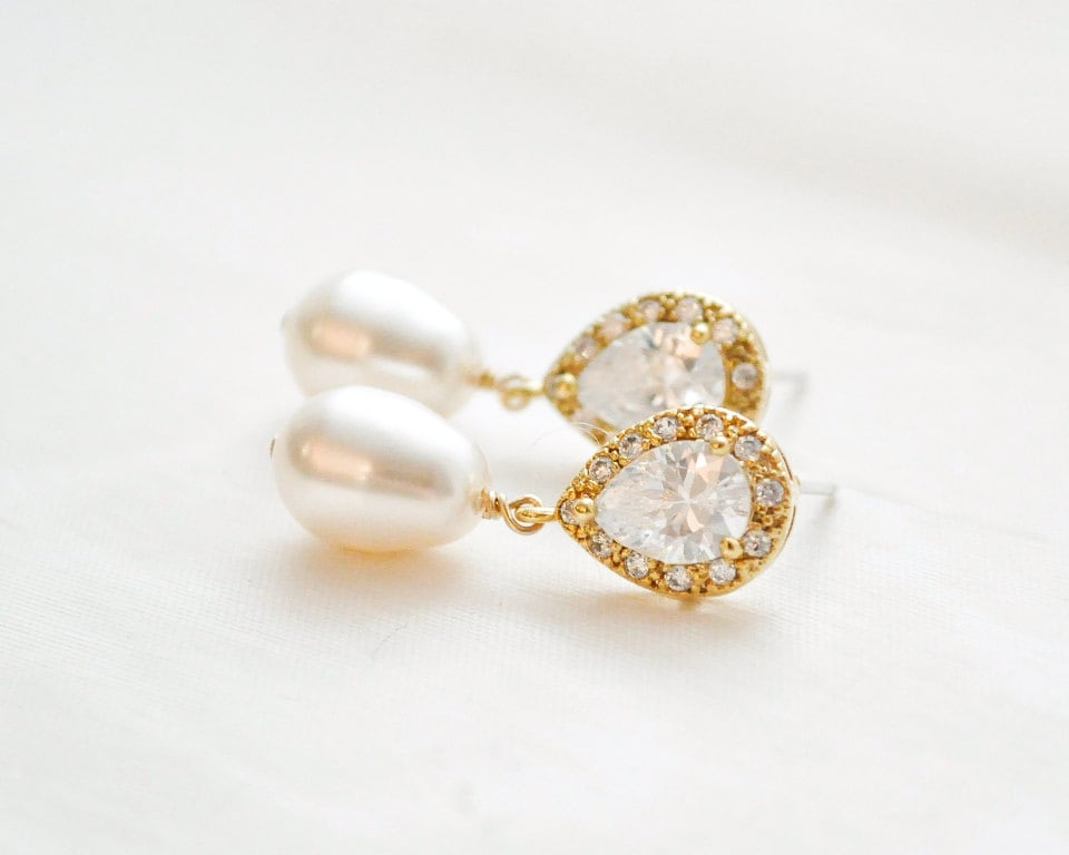 Bridal Earrings Gold Pearl And Crystal Pearl Wedding Earrings