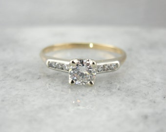 Vintage Retro Engagement Ring with Gorgeous, Bright Diamond LY08JN-R