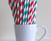 Red and Teal Paper Straws Aqua and Red Striped Dr. Seuss Cat in the Hat Party Supplies Party Decor Bar Cart Accessories Graduation Party