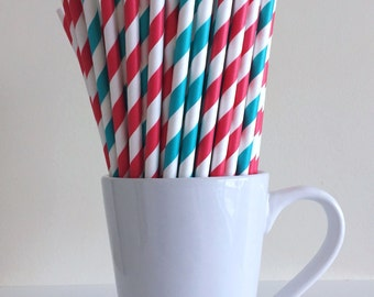 Red and Teal Paper Straws Aqua and Red Striped Dr. Seuss Cat in the Hat Party Supplies Party Decor Bar Cart Graduation Party Graduation