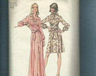 1973 Simplicity 5909 Elegant Shirt Dress with Large Pointed Collar Size 14