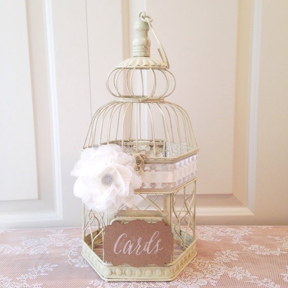 Country Glam Wedding, Birdcage Card Holder, Small Wedding Bird Cage, Elegant Bird Cage // BC10B