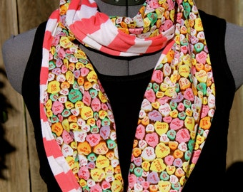 Valentine Conversation Hearts Infinity Scarf-Ships same or next day - only 3 available!