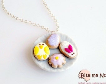 Easter Cookies Necklace, Easter Necklace, Miniature Cookies Necklace, Dollhouse Food, Easter Gift, Festive Necklace, Food Jewelry, Fake Food