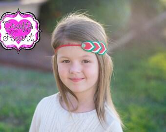 Felt Feather Headband - Christmas Headband - Felt Flower Headband - Felt Headband - Christmas Hair Bow - Chritstmas - Red and Green Headband
