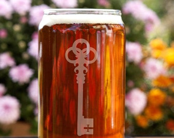 Victorian Skeleton Key Customizable Etched Beer Can Glass Glassware Gift
