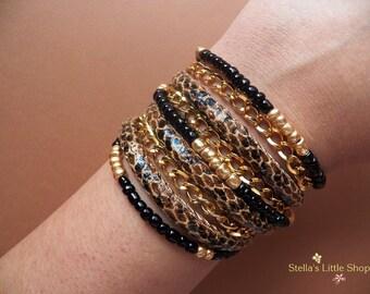 Wrap Bracelet, Wrap Jewelry, Animal Print Bracelet, Triple Wrap, Beaded Bracelet, Gold Chain