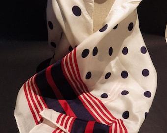 1960s Vintage Glentex Scarf Red White Blue Rectangular Silk Blend Rolled Hem