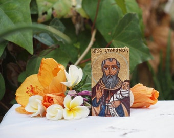 St Stylianos, Miniature greek orthodox Saint protector of Children, byzantine icon of Greece, eastern orthodox gift, religious painting
