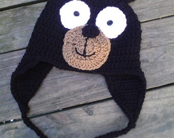 Black Bear Crochet Winter Hat or Photoprop