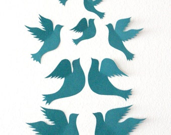 Dove Wall Decor - Living room art - Dove Art - Paper Doves - Bird wall art - Paper Birds - Nursery Art - Home decor - Flying Doves