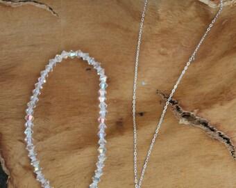 Swarovski Sterling Silver Tear Drop Necklace, Bracelet, Earrings. Set