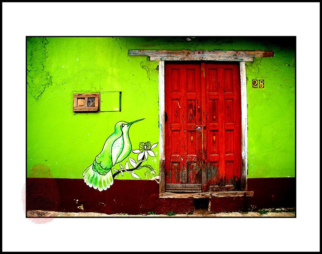 Hummingbird wall art mexican green decor digital print for Green wall art