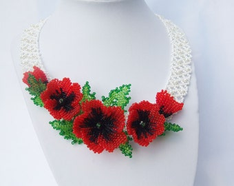 Mother day gift red poppy necklace nature jewelry ukrainian necklace rustic wedding Ukrainian Jewelry red flower necklace statement necklace