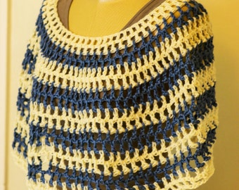 Cream and Blue Women's Crochet Shawl