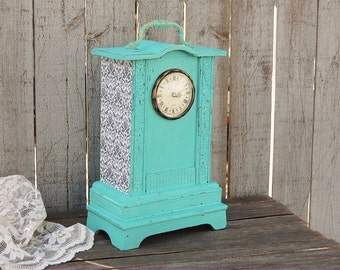 Clock, Shabby Chic, Aqua, Turquoise, Gold, Hand Painted, Wood, Distressed, Decoupaged, Damask, French Decor, Wedding Decor, Decorative