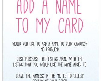 Add a Name To My Card