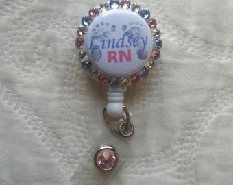 Retractable badge holder. Hospital ID holder. Newborn Feet Retractable Badge Holder for your Work ID.  Great for Mother/Baby, Nursery, L&D!