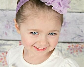 Baby Headband Lavender Lace Chiffon - Gift or Photo Prop - Newborn Infant Toddler Girl Adult Flower Girl Wedding Flowergirl Elegant Prom