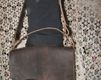 Distressed Leather Messenger Bag - Crazy Horse Pull Up Dark Brown
