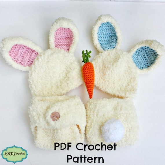 Free Crochet Pattern For Bunny Ears And Diaper Cover : PATTERN- Crochet Newborn Fuzzy Bunny Hat and Diaper Cover ...