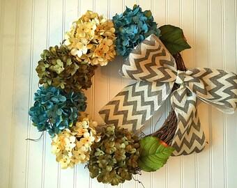 Blue Hydrangea wreath. spring wreath. Mother's day gift. spring door wreath. spring decor.