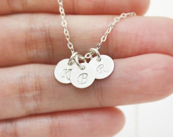 Personalized Sterling Silver initial necklace,three initial, family necklace, Bridesmaid gift, Friendship, love