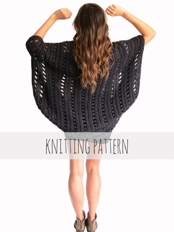 Loose Knitting Patterns : PATTERN for Loose Knit Poncho Beach Cover Up Cape Cardigan