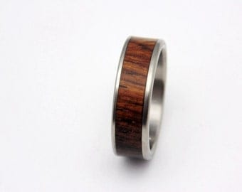 Handmade Titanium and Cocobolo wood wedding ring
