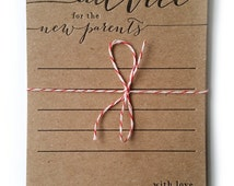 advice for the new parents - letterpress - pack of 10 - baby shower game - rustic - country - keepsake - baby shower advice card