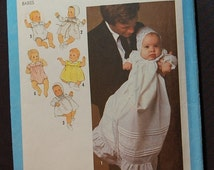 Simplicity 8971 - Christening Gown Pattern and Baby Clothes for 6 month old - Vintage Pattern