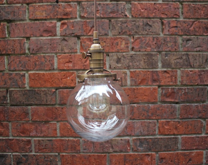 "Pendant Lighting Antique Brass Finish - 6"" Clear Glass Globe - Cloth Wire - Plug In or Ceiling Canopy Mount"