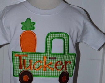 Personalized Easter Bunny with Carrot Applique Shirt or Onesie Girl or Boy