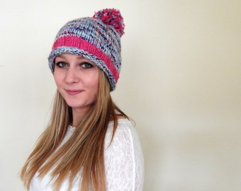 Ready to Ship Chunky Knit Hat - Pompom Knit Hat - Slouchy Winter Hat - Rolled Ribbed Brim Two Toned Fushia and Variegated Colors