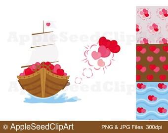 Valentine's Day Digital Clip Art, Hearts Digital Clip Art, Lovely Boat Digital Clip Art, Instant Download