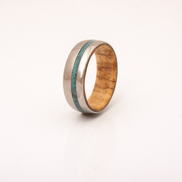 Mens titanium and turquoise wedding band wood ring olive wood for Mens turquoise wedding rings