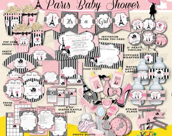 Paris Baby Shower Package,Paris Baby Shower Decorations,Printable Paris  Party