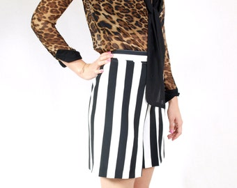 High Waisted Striped Shorts - Black and White Striped Shorts Made in France