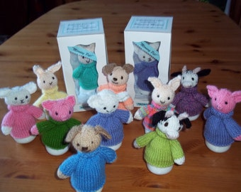 Hand Knitted Character egg cosy and egg cup set