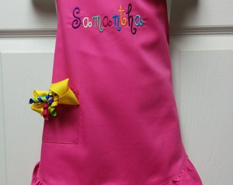 Personalized Embroidered Princess Toddler Girls Ruffled Apron with Clip on Hair Bow