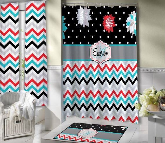 Floral Shower Curtain Red Teal Black Chevron Shower