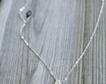 Tiny solitaire cubic zirconia silver or gold plated necklace cz perfect gift for you or that special someone