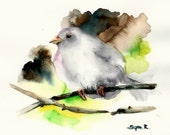White Bird on a Branch Original Watercolor Painting, Watercolour Art, Bird Art