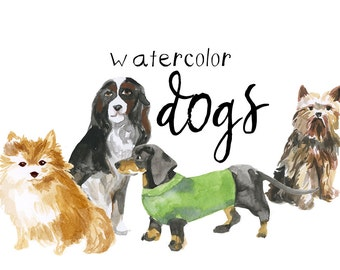 Watercolor Painted Dogs Clip Art Dog Canine Illustrations Commercial use Pets Animals digital scrapbooking pet clipart instant download
