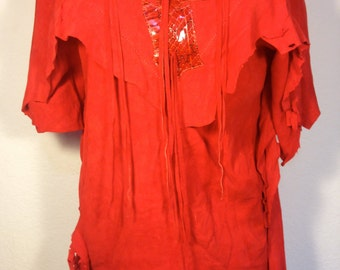 FREE  SHIPPING  Michael Hoban    Suede  Blouse
