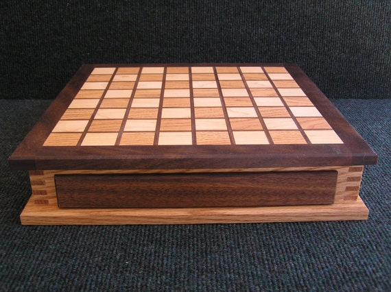 Checker (and Chess!) Box ~ Handcrafted, Fingerjointed ~ with PERSONALIZED Wood Checkers!