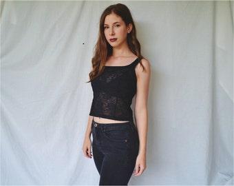 Babydoll Black Lace Roses Crop Top