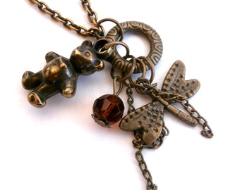 Charm Necklace - Womens Jewelry - Repurposed - Bronze Necklace
